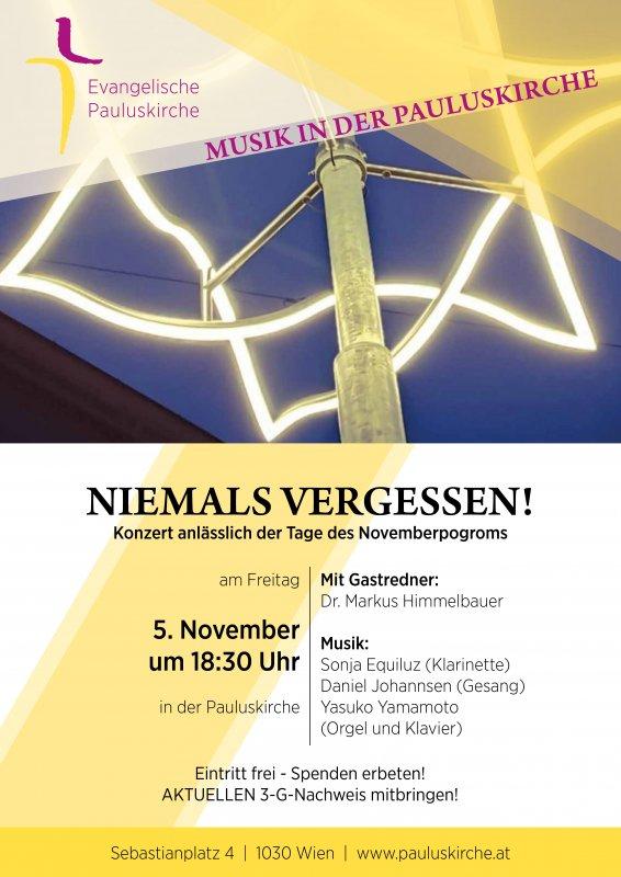 Konzert anlässlich der Tage des Novemberprogroms - 05.11.2021, 18.30 Uhr